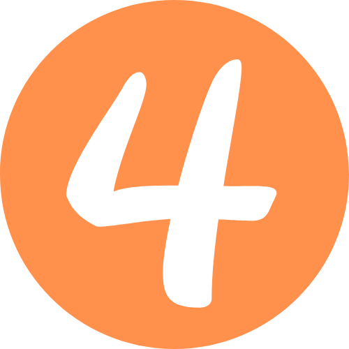Number 4 Orange Icon